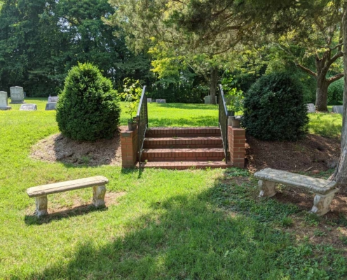 TP shows steps to the upper tier of the Chapel Cemetery