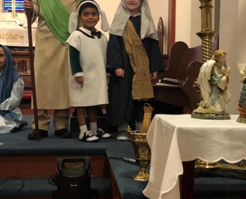 TP shows children dressed as shepherds for the Christmas Pageant