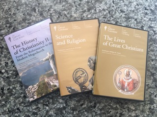 TP shows DVD covers of three series of videos we are using in Adult Formation sessions