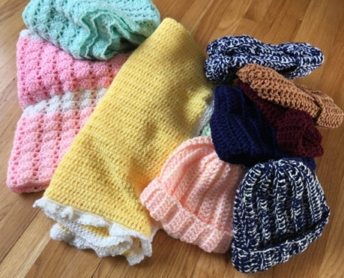 TP shows knitted and crocheted beautiful items created by members of our Yarn Ministry