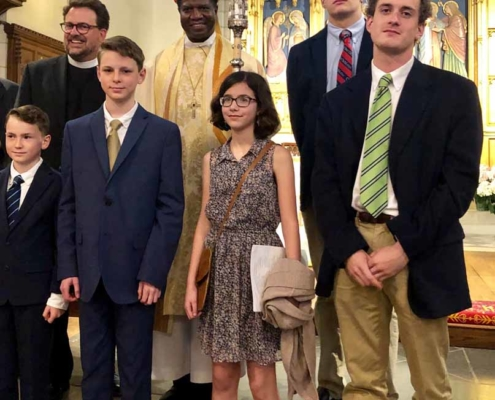 TP shows confirmands with the Bishop at the Diocesan Cathedral
