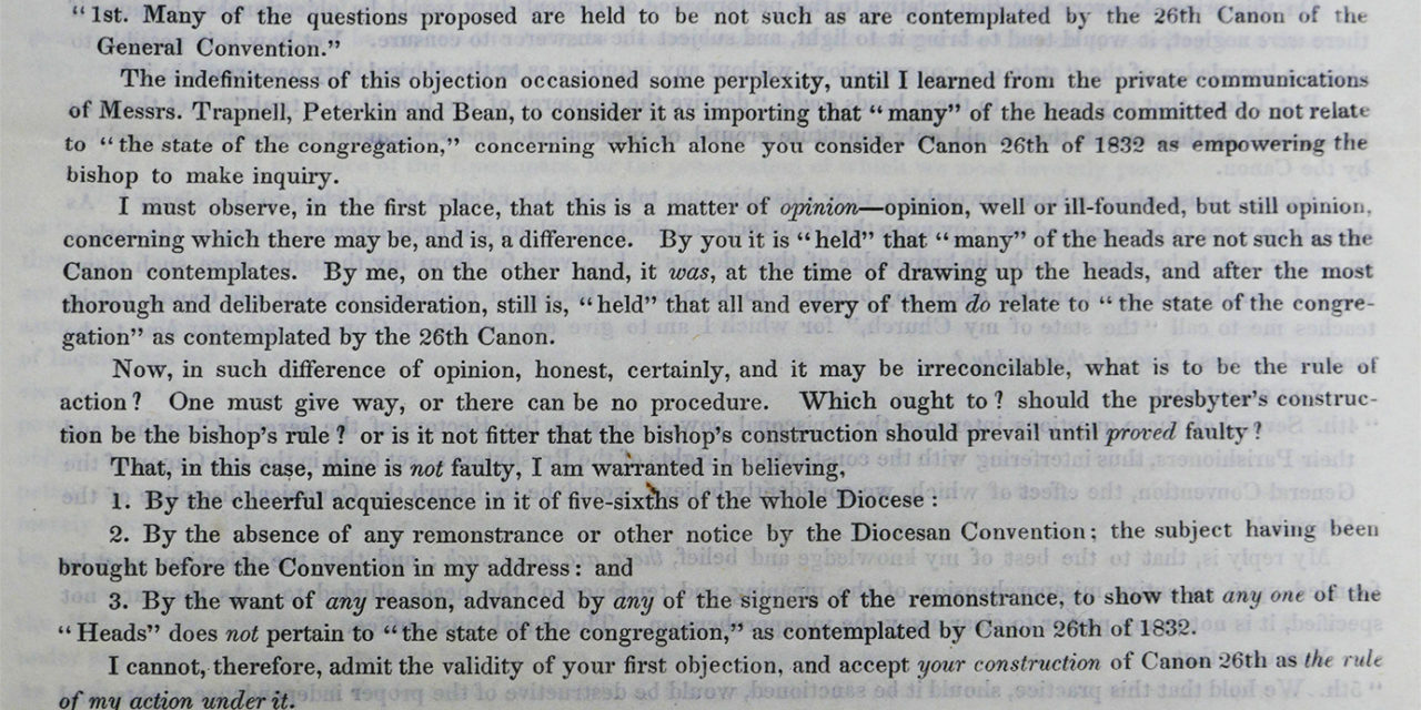From the Archives: 'Episcopal Despotism' and Bishop Whittingham's Questionnaire of 1844